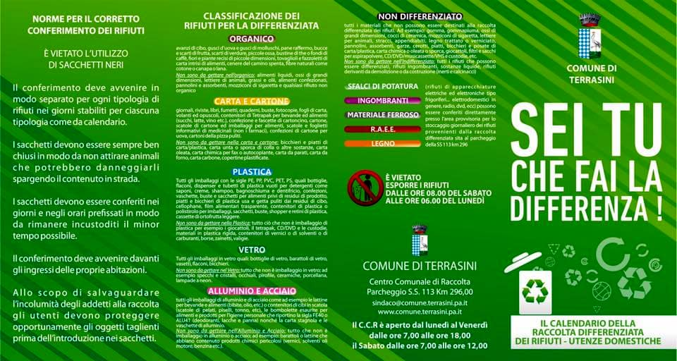 Calendario Raccolta Differenziata Cinisi 2019.Terrasini Raccolta Differenziata Dei Rifiuti Il Calendario