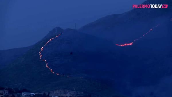 VIDEO | Brucia Monte Cuccio, le fiamme lambiscono le case: canadair in azione