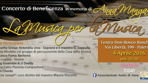 """La musica per la musica"", concerto di beneficenza al Teatro Don Bosco Ranchibile"