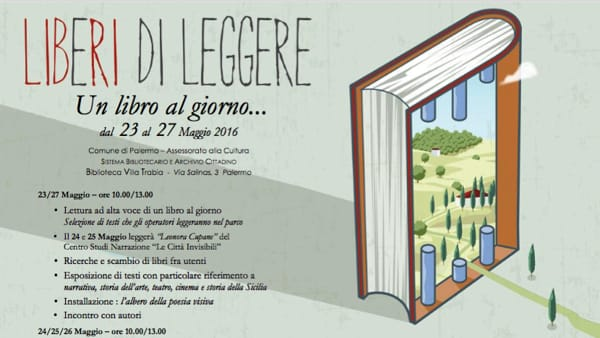 """""""Liberi di leggere"""", un libro al giorno alla biblioteca di Villa Trabia"""