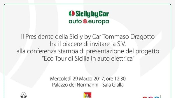 Eco-tour di Sicilia di Sicily by Car, la presentazione a Palazzo dei Normanni