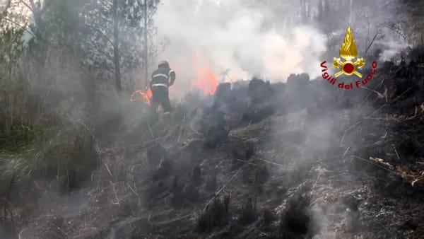 VIDEO | Incendio a San Martino, 4 canadair e vigili del fuoco in azione per domare le fiamme