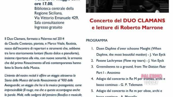Concerto del Duo Clamans alla biblioteca centrale della Regione Siciliana