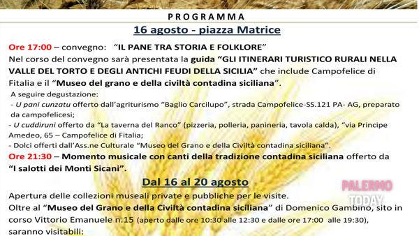"""""""I giorni del grano"""", la manifestazione a Campofelice di Fitalia"""