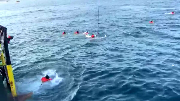 VIDEO | La Open Arms ancora ferma davanti al porto, 48 migranti si gettano in acqua