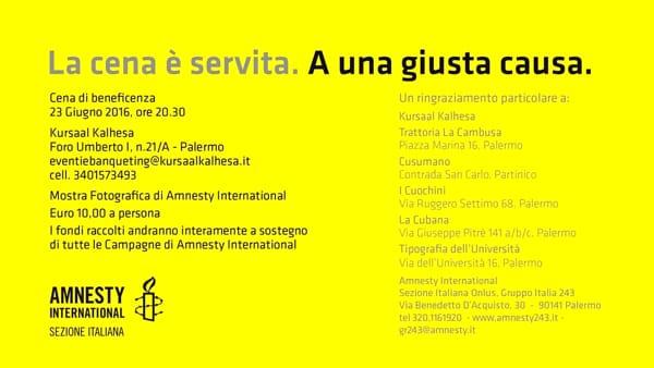 """La Cena è servita. A una giusta causa"", l'iniziativa di Amnesty al Kursaal Kalhesa"